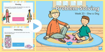 Week 23 - Problem Solving - One a Day PowerPoint - Word Problems, Addition, Subtraction, Challenge, Solving, RUDE,Irish
