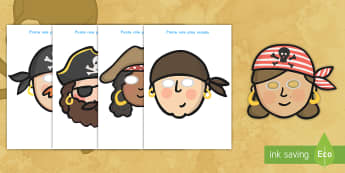 Pirate Role-Play Masks - pirates, masks, role play, creativity, activity, imagination