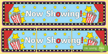 Now showing movie themed Banner - Now Showing Banner-camera action, wall display , banner, movie banner, banner for movie display boar