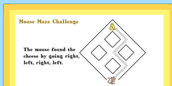 First Level A4 Mouse Maze Maths Challenge Poster - Mouse, Maze, Challenge