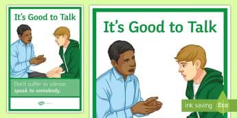 It's Good to Talk A4 Display Poster - Talk, depression, mental health, support, help