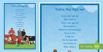 Tutira Mai Display Poster - Tutira Mai, All Blacks, Song, Te Reo Maori, Poster, Waiata