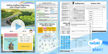 PlanIt Y4 Language Conventions: Adding Suffixes Beginning with Vowel Letters Lesson Pack - Language Conventions, phonics and word knowledge, suffix, complex words, double letter, suffix with