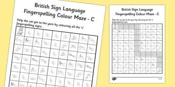 British Sign Language Left Handed Fingerspelling Colour Maze C