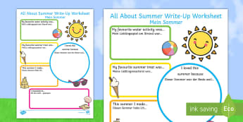 Summer Holiday Write Up Activity Sheet - English/German  - EAL, German, Summer Holiday Write Up Worksheet - seasons, holidays, terms, ,German-translation