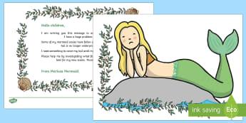Mermaid Materials Waterproof Investigation - EYFS Water, water cycle, rain, rivers, sea, oceans, mermaid, waterproof, message in a bottle, letter