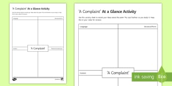 t a Glance Activity Sheet to Support Teaching on 'A Complaint' by William Wordsworth  - GCSE Poetry, William Wordsworth, A Complaint, The Romantics, Coleridge, structure and form, language