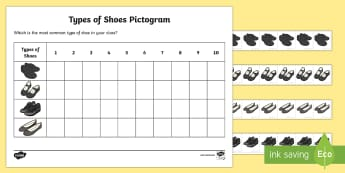 Types of Shoes Pictogram - EYFS, Early Years, Maths, Number, Counting, Sorting, Data Analysis, Survey