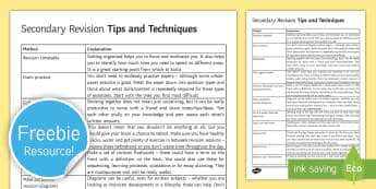 Revision Tips & Techniques Guide - revision tips, techniques, help, work, exams, secondary