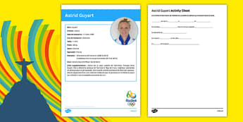French Olympic Athletes Astrid Guyart Gap Fill Activity Sheet, worksheet