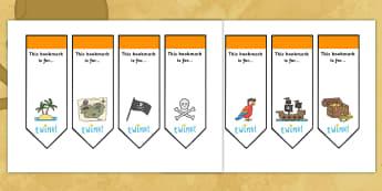 Editable Pirates Bookmarks - Bookmark, bookmark template,  gift,  present, book, reward, achievement,  pirate, pirates, treasure, ship, jolly roger, ship, island, ocean