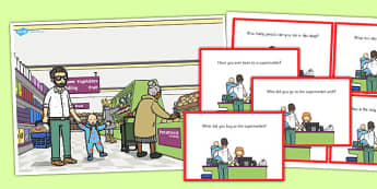 Supermarket Scene and Question Cards - supermarket, scene, cards