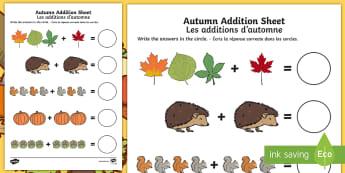 Autumn Addition Activity Sheet English/French - autumn, addition sheet, addition, maths, numeracy, adding, seasons, addition worksheet, autumn theme