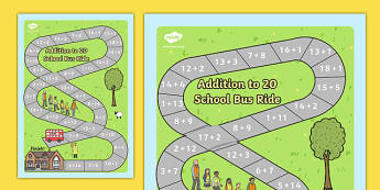Addition Board Game - add, adding, games, maths, numeracy