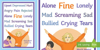 I'm Fine Display Poster - Mental Health, world mental health Day, Depression, Counselling, support