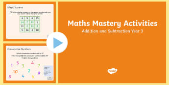 Maths Mastery Activities Year 3 Addition and Subtraction PowerPoint - Year 3, maths, mathematics, numeracy, addition, subtraction, place value, money, maths mastery activ