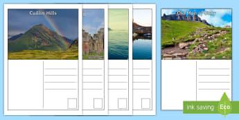 Scotland Postcards - Scotland, writing, tourism, tourist, scenery, landmarks, LIT, creating texts, writing prompt, images