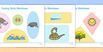 Australian Beach Habitat Cutting Skills Worksheet - australia, Science, Year 1, Habitats, Australian Curriculum, Beach, Living, Living Adventure, Environment, Living Things, Animals, Plants, Cutting Skills, Fine Motor