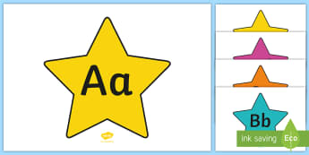 A-Z Alphabet on Stars (Multicolour) - A-Z, A4, display, Alphabet frieze, Display letters, Letter posters, A-Z letters, Alphabet flashcards