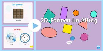 2D Formen im Alltag PowerPoint - Mathe, Geometrie, Flächen, Winkel, Seiten, ebene Formen,,German