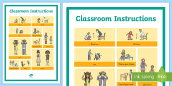 Classroom Instruction Word Grid - classrooms, commands, command, instructions, display, rules, classroom rules,
