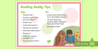 Reading Buddy Tips A4 Display Poster - NI  Literacy,paired reading, reading tips, helpful reading tips, reading prompts
