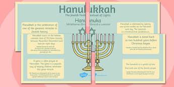 Hannukah Large Information Poster KS2 Romanian Translation 4xA4 - Romanian, Judaism, Jewish Festival, menora, light