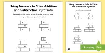 Using Inverses Activity Sheet - addition, subtraction, missing number puzzle, problem, working backwards, worksheet