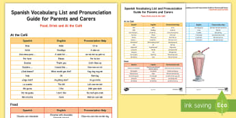 Spanish Guide to Pronunciation: At the Cafe Parent and Carer Information Sheet - Spanish food, Spanish drinks, Pronunciation, Spain, eating out, cafes, languages