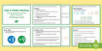 Generate and Describe Maths Mastery Challenge Cards - New Zealand, maths, algebra, challenge cards