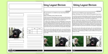 Using Layout Devices Differentiated Activity Sheet Pack - GPS, presentational devices, headings, sub-headings, columns, bullets, tables, non-fiction, worksheet