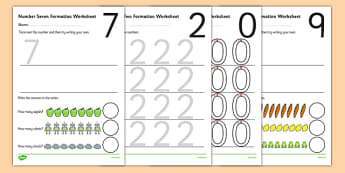 0-9 Number Formation Worksheets - number formation worksheets, writing numbers, learning to write numbers, number tracing sheets, number writing practise, overwriting