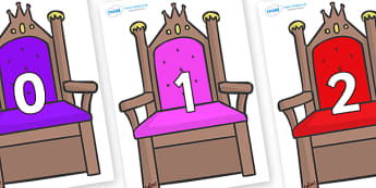 Numbers 0-100 on Thrones - 0-100, foundation stage numeracy, Number recognition, Number flashcards, counting, number frieze, Display numbers, number posters