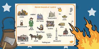 Marele incendiu al Londrei - Planșă cu imagini și cuvinte - marele incendiu, jetoane, imagini, planșă, cultură, civilizație, britanică, elemente istorice, materiale, materiale didactice, română, romana, material, material didactic