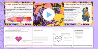 A Scots Language Poem for Mother's Day Activity Pack - CfE Mother's Day March 26th, writing, creating texts, Scottish, Scotland, events, dialect