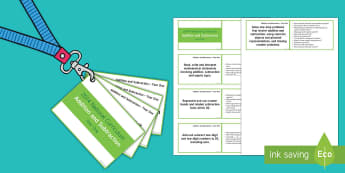 Lanyard Sized Year 1 Addition and Subtraction Objectives Cards - year 1 maths, year one, numeracy, KS1, maths statements, addition and subtraction, objectives, Natio