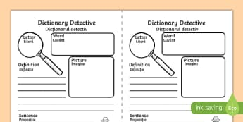 Dictionary Detective Activity Sheet, worksheet