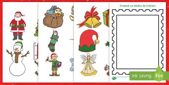 Creează un timbru poștal de Crăciun Activitate - decupaj, Crăciun, activități manuale, jucării de crăciun, machete, Romanian