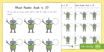 Mixed Number Bonds to 20 on Robots Activity Sheet - New Zealand, maths number bonds, numbers to 20, addition, adding, Years 1-3, number bonds to 20, mix