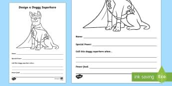 Design a Doggy Superhero Activity Sheet - Home Education Requests, paw patrol, Ryder, captain canine, animal superhero, Worksheet, superdog, s