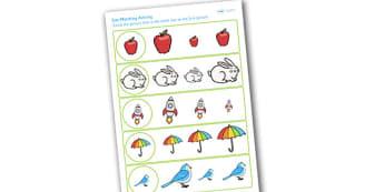Size Matching Worksheets - size, sizes, matching, measure, maths
