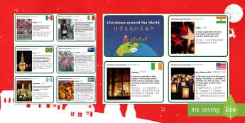 Christmas Around the World Fact Cards English/Mandarin Chinese - EYFS Christmas Around the World Fact Cards - eyfs, christmas, around the world, fact cards,chritmas,