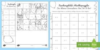 Das Kleine Einmaleins Faschingspuzzle (6er, 7er, 8er) Aktivität - Karneval, Fasching, Fastnacht, Puzzle, Mathepuzzle, Bildpuzzle, Anmalbilder, Das Kleine Einmaleins,