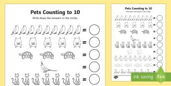 Pets Counting Sheet 1-10