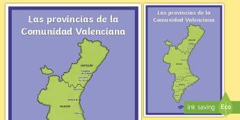 Póster DIN A2: Las provincias de la Comunidad Valenciana - Mapas, provinicias, mapas mudos, mapas en blanco, las ciudades de españa, comarcas, concejos, comun