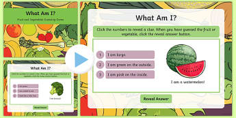 What Am I? Fruit and Vegetables Guessing Game PowerPoint - what am i, fruit, vegetable, guessing game, guess, game, activity, powerpoint