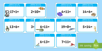 Addition up to 20 Cards English/Polish -  addition, cards, 20, up to 20, add, +, adition, additon, EAL, Polish, maths, bilingual, dual langua