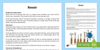 Renoir Factual Recount Biography Writing Sample - Literacy, Renoir Factual Recount Biography  Writing Sample, year 3, year 4, text types , types of te