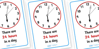 Visual Prompts Display Poster (Hours In A Day) - hours, day, visual prompt, aid, learning, time, 24 hours, how many hours in a day