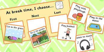 At Break time I Choose Choice Cards - break time, I choose, cards